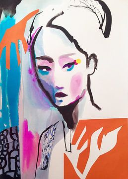 Geisha with Orange Flower van Helia Tayebi Art