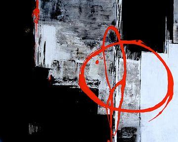 Rote Linie auf Grau von Claudia Neubauer