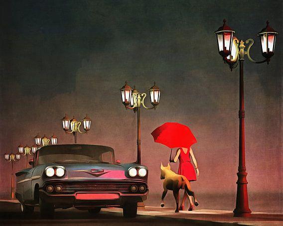 Retro – Klassiek Het meisje in het rood en een oldtimer Chevrolet Belair