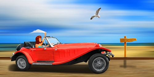 Pin-up meisje op de weg naar het strand
