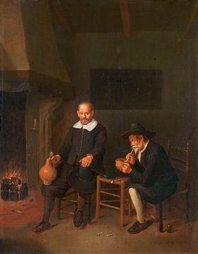 Intérieur avec deux hommes au coin du feu, Quiringh Gerritsz. van Brekelenkam sur