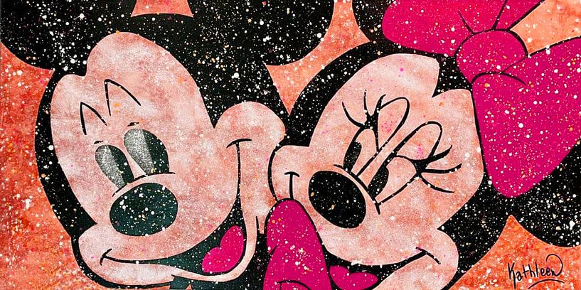 Mickey et Minnie Mouse «Amour en couleurs» sur Kathleen Artist Fine Art