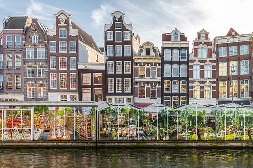 Amsterdamse grachtenpanden bij de Bloemenmarkt van