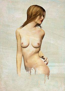 Erotischer Nackt - Nackte Frau, die zurück schaut von Jan Keteleer