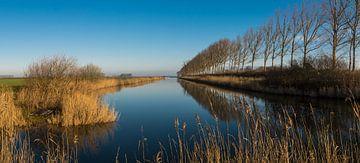 Panorama van een uitwateringskanaal bij Biervliet von Nico de Lezenne Coulander