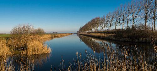 Panorama van een uitwateringskanaal bij Biervliet