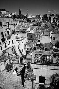 Mariage italien à Matera en noir et blanc
