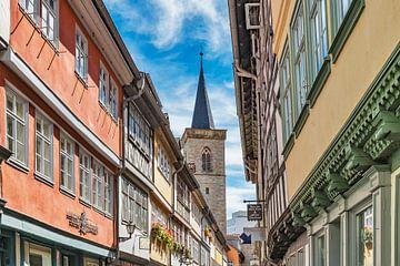 Blick über die Krämerbrücke zum Turm der Ägidienkirche in Erfurt, Deutschland von Gunter Kirsch