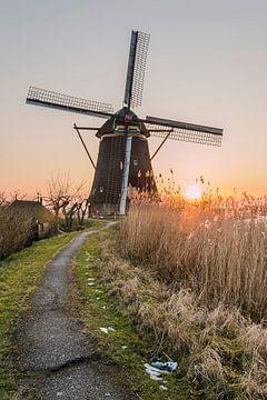 Zonsondergang molen Kinderdijk van Mark den Boer