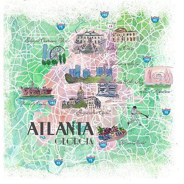 Atlanta Georgia USA Geïllustreerde kaart met de belangrijkste straten, bezienswaardigheden en hoogte van Markus Bleichner