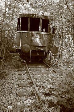 Verlaten treinwagon in het bos van Marcel Runhart
