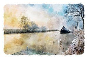 Aquarell einer Winterszene mit altem Segelboot