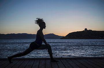 SA11335628 Junge Frau, die nachts am Meer Yoga praktiziert von BeeldigBeeld Food & Lifestyle