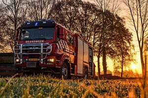 Firetruck at sunrise
