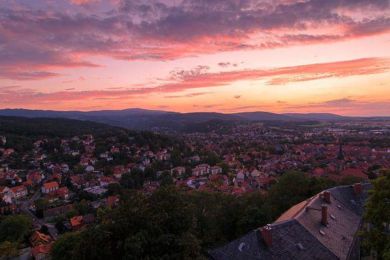 Wernigerode stad bij zonsondergang