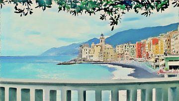 Camogli in Italië aan de Italiaanse Rivièra - I - Schilderij van Schildersatelier van der Ven