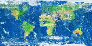 Wereldkaart waterspiegel van