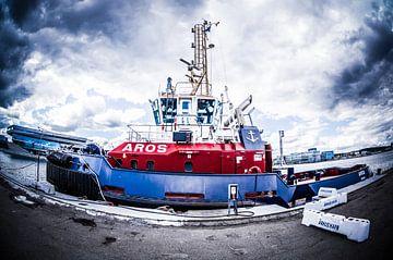 De Aros in de haven van Aarhus - Denemarken van Tony Buijse