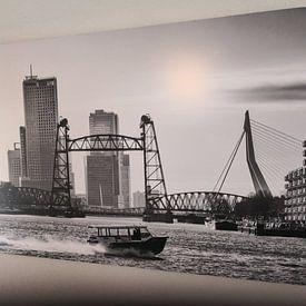 Kundenfoto: 3 Rotterdamer Brücken (schwarz-weiß) von Rick Van der Poorten, auf hd metal