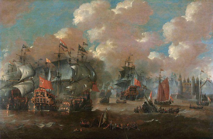 Schilderij: Zeeslag bij Elseneur in de Sont tussen de Hollandse en de Zweedse vloot, 8 november 1658 van Schilderijen Nu