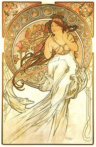 Kunst: Muziek  - Art Nouveau Schilderij Mucha Jugendstil