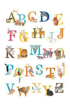Alphabet-Poster Tiere Niederländisch von Karin van der Vegt