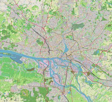 Kaart van Freie und Hansestadt Hamburg of Hamborg van Atelier Liesjes