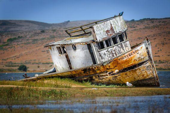 Oud scheepswrak op het droge in Point Reyes
