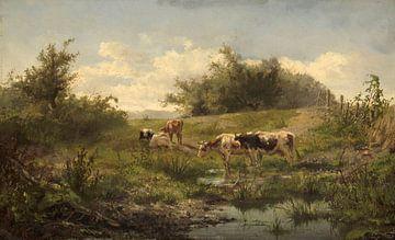 Kühe an einem See, Gerard Bilders