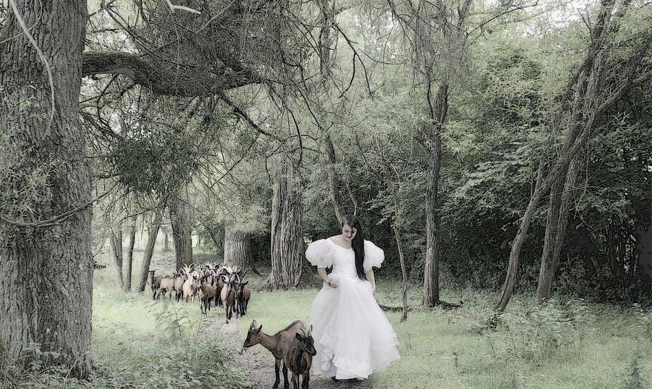 sneeuwwitje op bezoek bij de geitjes