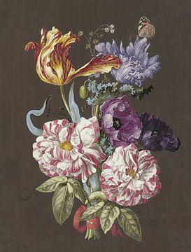 Blumenarrangement mit Rosen, Tulpen, Mohnblumen und anderen Blumen, anonym