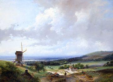 Andreas Schelfhout, HERDERS EN EEN RUITER BY EEN MOLEN, HAARLEM OP DE ACHTERGROND - 1837 van Atelier Liesjes