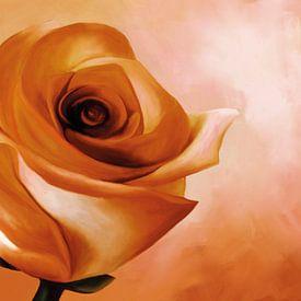 Schilderij van een roos in oranje kleuren van Tanja Udelhofen