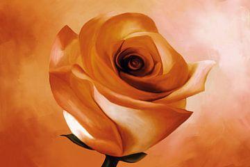 Schilderij van een roos in oranje kleuren