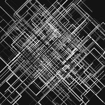 Abstracte lijn 3 zwart-wit netwerk van Jörg Hausmann