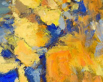 Compositie in oranje en blauw van Nop Briex
