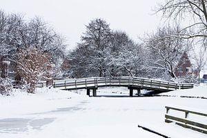 Houten fietsbrug in een besneeuwd landschap