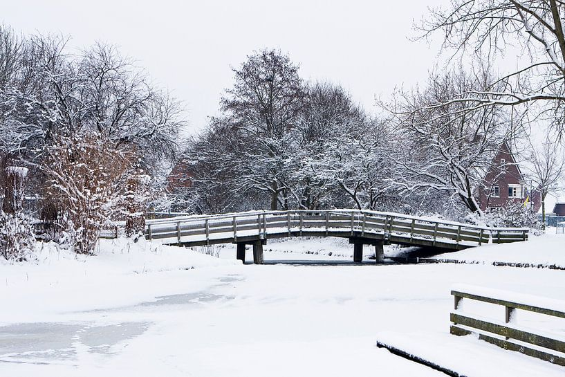 Houten fietsbrug in een besneeuwd landschap van Bert Meijerink