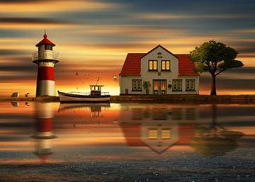 Die Idylle beim Haus des Leuchtturmwärters von Monika Jüngling