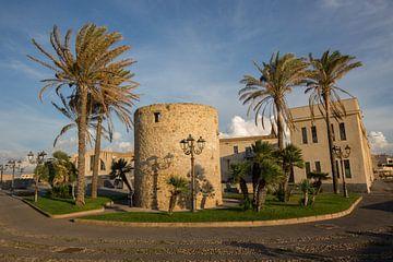 Hafen von Alghero auf Sardinien, mit Palmen und Turm von Joost Adriaanse