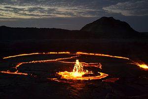 Erte Ale vulkaan, Danakil, Ethiopië van Harold de Groot