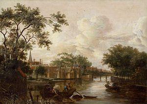 Stadt mit Fluss, Meindert Hobbema