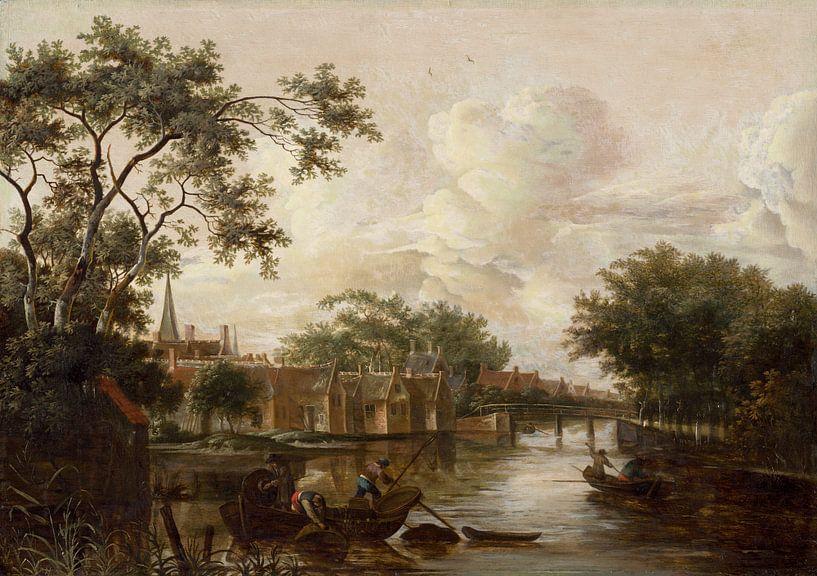 Stadt mit Fluss, Meindert Hobbema von Meesterlijcke Meesters