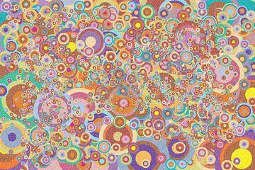 Abstrakte Arbeit mit Kreisen 'Herbst' - Pointillismus von Ton Kuijpers