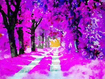 Der rosa Märchenwald - Aquarellmalerei