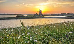 Zonsondergang, molen t Noorden op Texel / Sunset, Mill the North, Texel van