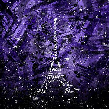 Digital Art Eiffel Tower   purple van Melanie Viola