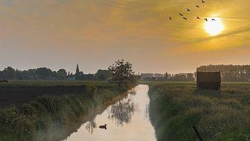 Sonnenaufgang in der Betuwe von Eddie Meijer