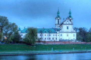 Pauline Church on the Rock and Monastery with River Wisla at dusk, Kazimierz, Krakow, Lesser Poland,