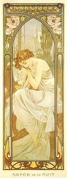Tijden van de Dag: Nacht Rust - Art Nouveau Schilderij Mucha Jugendstil sur